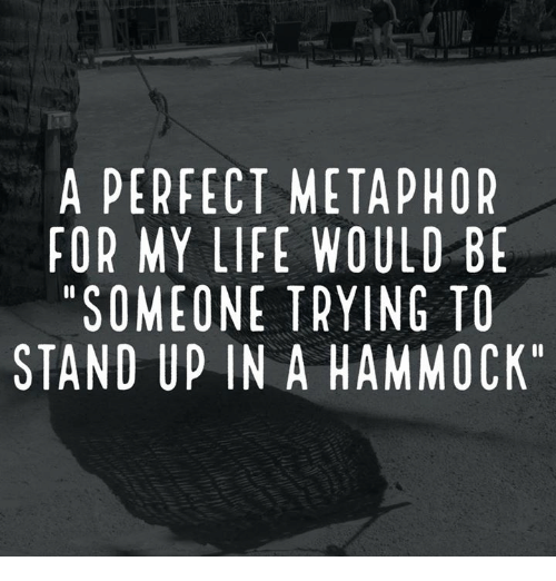 "Dank, Life, and Hammock: A PERFECT METAPHOR  FOR MY LIFE WOULD BE  ""SOMEONE TRYING TO  STAND UP IN A HAMMOCK"""