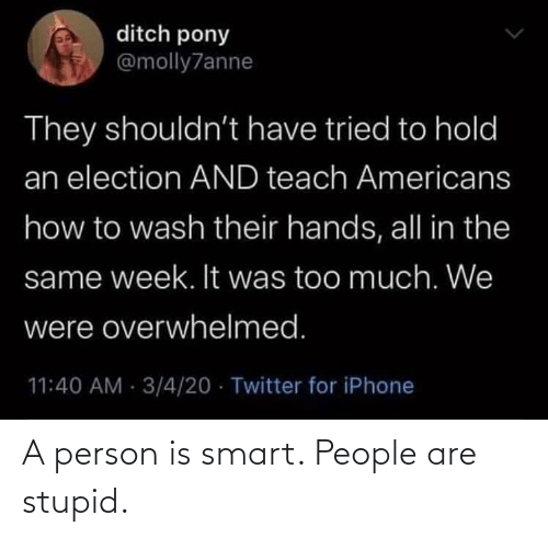 smart people: A person is smart. People are stupid.