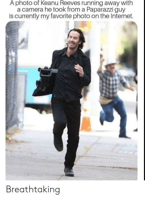 paparazzi: A photo of Keanu Reeves running away with  a camera he took from a Paparazzi guy  is currently my favorite photo on the Internet. Breathtaking