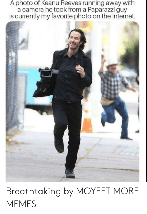 paparazzi: A photo of Keanu Reeves running away with  a camera he took from a Paparazzi guy  is currently my favorite photo on the Internet. Breathtaking by MOYEET MORE MEMES