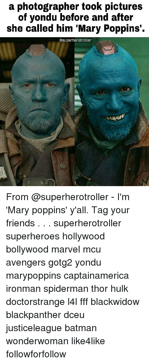 Spidermane: a photographer took pictures  of yondu before and after  she called him Mary Poppins  esuperherotroller From @superherotroller - I'm 'Mary poppins' y'all. Tag your friends . . . superherotroller superheroes hollywood bollywood marvel mcu avengers gotg2 yondu marypoppins captainamerica ironman spiderman thor hulk doctorstrange l4l fff blackwidow blackpanther dceu justiceleague batman wonderwoman like4like followforfollow