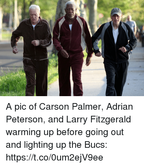 warming-up: A pic of Carson Palmer, Adrian Peterson, and Larry Fitzgerald warming up before going out and lighting up the Bucs: https://t.co/0um2ejV9ee