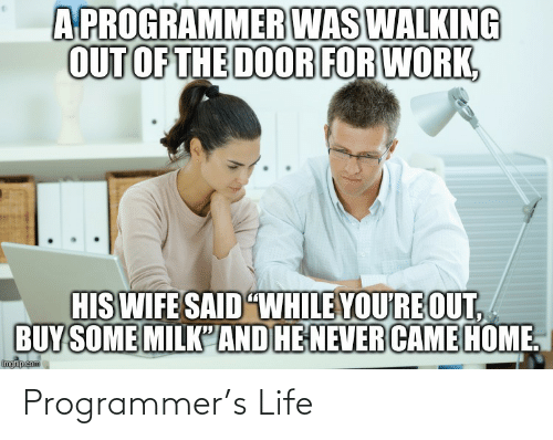 "door: A PROGRAMMER WAS WALKING  OUT OF THE DOOR FOR WORK,  HIS WIFE SAID ""WHILE YOU'RE OUT,  BUY SOME MILK'AND HE NEVER CAME HOME.  imgflip.com Programmer's Life"