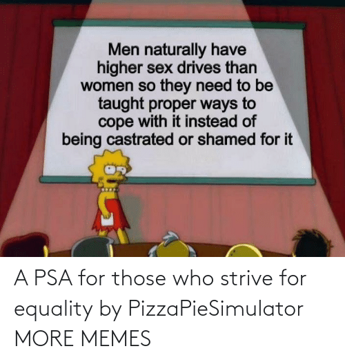 psa: A PSA for those who strive for equality by PizzaPieSimulator MORE MEMES