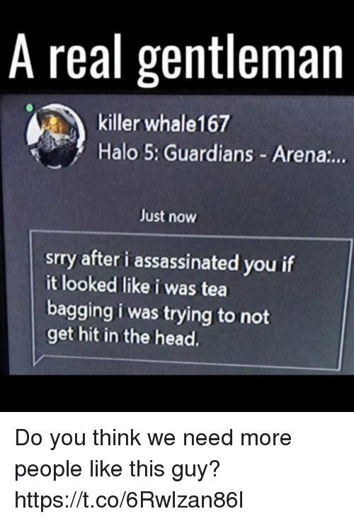 Guardians: A real gentleman  killer whale167  Halo 5: Guardians Arena:..  Just now  srry after i assassinated you if  it looked like i was tea  bagging i was trying to not  get hit in the head. Do you think we need more people like this guy? https://t.co/6Rwlzan86l