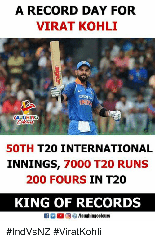 Bailey Jay, Record, and International: A RECORD DAY FOR  VIRAT KOHLI  LAUGHING  50TH T20 INTERNATIONAL  INNINGS, 7000 T20 RUNS  200 FOURS IN T20  KING OF RECORDS  (2回四/laughingcolours #IndVsNZ #ViratKohli