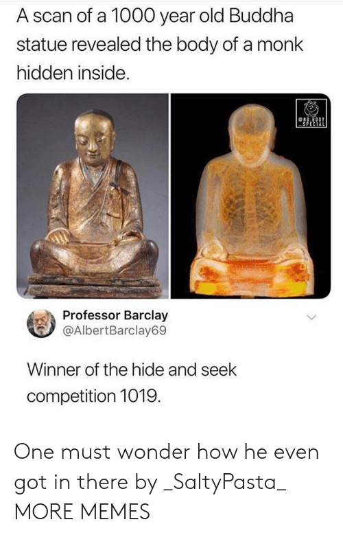 Dank, Memes, and Target: A scan of a 1000 year old Buddha  statue revealed the body of a monk  hidden inside.  NO.8ODY  SPECIAL  Professor Barclay  @AlbertBarclay69  Winner of the hide and seek  competition 1019  (GA One must wonder how he even got in there by _SaltyPasta_ MORE MEMES