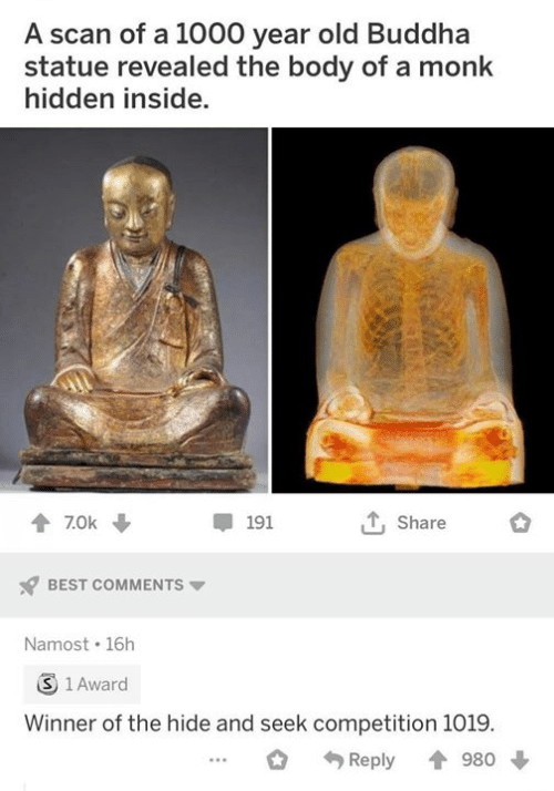 Best, Buddha, and Classical Art: A scan of a 1000 year old Buddha  statue revealed the body of a monk  hidden inside.  Share  7.0k  191  BEST COMMENTS  Namost 16h  3 1 Award  Winner of the hide and seek competition 1019.  980  Reply