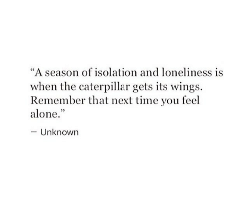 """Being Alone, Time, and Wings: """"A season of isolation and loneliness is  when the caterpillar gets its wings.  Remember that next time you feel  alone.  -Unknown"""