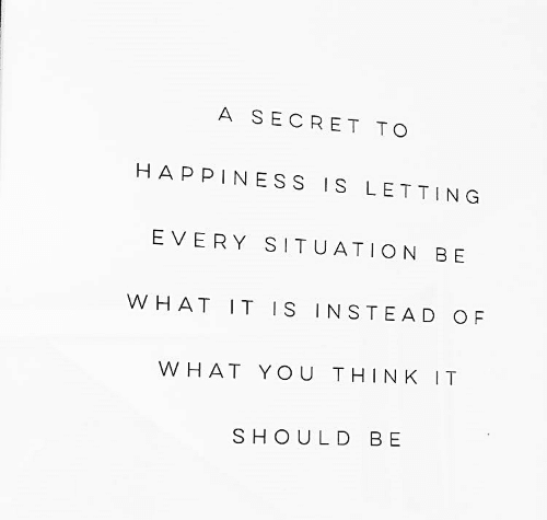 Happiness, Secret, and Think: A SECRET TO  HAPPINESS IS LETTING  EVERY SITUATION BE  OF  WHAT IT IS INSTEAD  WHAT YOU THINK IT  SHOULD BE