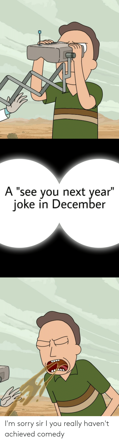"""Reddit, Sorry, and Comedy: A """"see you next year""""  joke in December I'm sorry sir I you really haven't achieved comedy"""