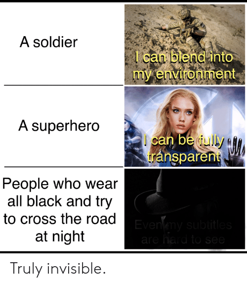 Superhero, Black, and Cross: A soldier  l can blend into  my environment  A superhero  can be ully  transparent  People who wear  all black and try  to cross the road Evenmy subtitles  at night  are hard to see Truly invisible.