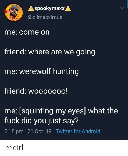 werewolf: A spookymaxx A  @climaxximus  me: come on  friend: where are we going  me: werewolf hunting  friend: wooooooo!  me: [squinting my eyes] what the  fuck did you just say?  5:18 pm 21 Oct. 19 Twitter for Android meirl