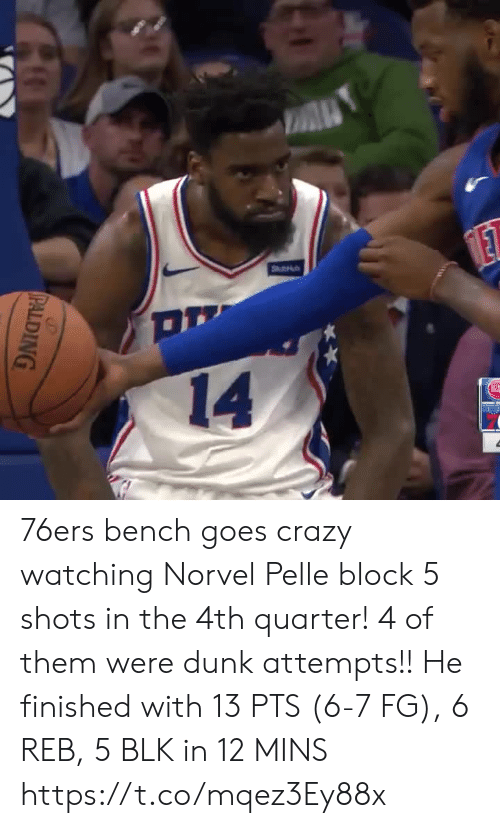 Philadelphia 76ers, Crazy, and Dunk: A  Stu  ET  14  PALDING 76ers bench goes crazy watching Norvel Pelle block 5 shots in the 4th quarter! 4 of them were dunk attempts!!  He finished with 13 PTS (6-7 FG), 6 REB, 5 BLK in 12 MINS  https://t.co/mqez3Ey88x