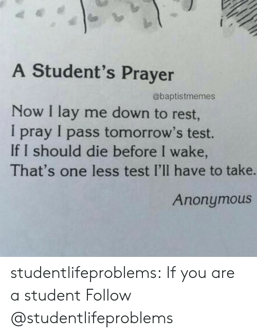Tumblr, Anonymous, and Blog: A Student's Prayer  @baptistmemes  Now I lay me down to rest  I pray I pass tomorrow's test.  If I should die before I wake,  That's one less test I'lI have to take.  Anonymous studentlifeproblems:  If you are a student Follow @studentlifeproblems​