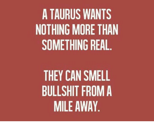 Smell, Taurus, and Bullshit: A TAURUS WANTS  NOTHING MORE THAN  SOMETHING REAL.  THEY CAN SMELL  BULLSHIT FROM A  MILE AWAY