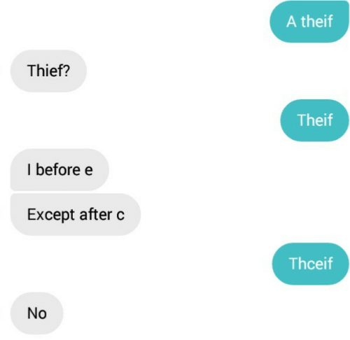Theif: A theif  Thief?  Theif  I beforee  Except after c  Thceif  No