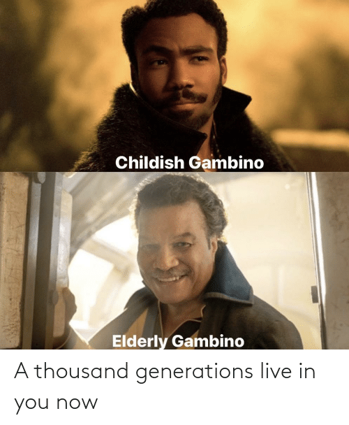 Generations: A thousand generations live in you now