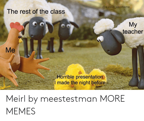 the night before: @a.valid_username  The rest of the class  Мy  teacher  Мe  Horrible presentation  I made the night before Meirl by meestestman MORE MEMES