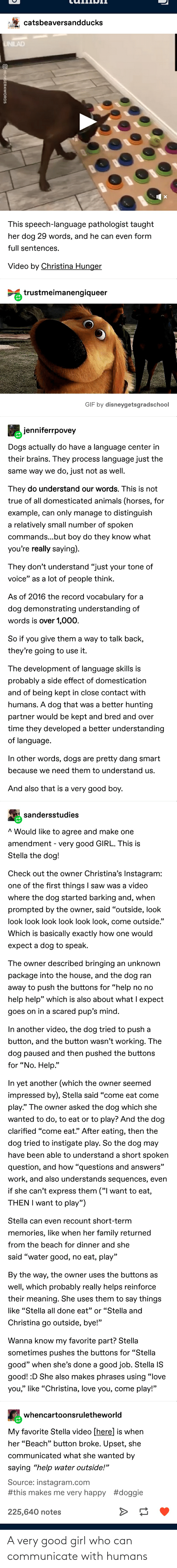 Communicate: A very good girl who can communicate with humans