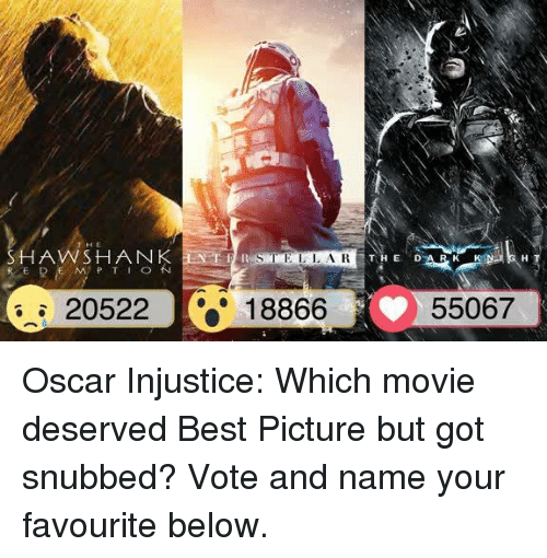 shank: A VW SHANK  R E D E M P T I O  20522  18866 55067 Oscar Injustice: Which movie deserved Best Picture but got snubbed? Vote and name your favourite below.