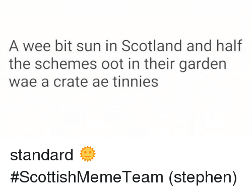 Ooting: A wee bit sun in Scotland and half  the schemes oot in their garden  wae a crate ae tinnies standard  🌞   #ScottishMemeTeam  (stephen)