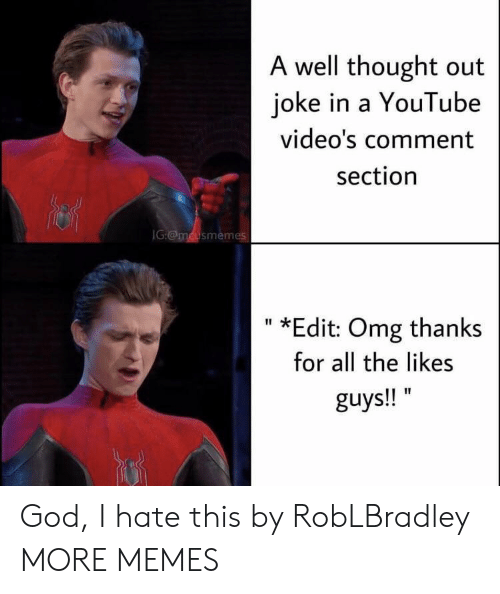 Comment Section: A well thought out  joke in a YouTube  video's comment  section  IG:@mcusmemes  *Edit: Omg thanks  II  for all the likes  guys!! God, I hate this by RobLBradley MORE MEMES