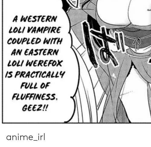 Fluffiness: A WESTERN  LOLI VAMPIRE  COUPLED WITH  AN EASTERN  LOLI WEREFOX  IS PRACTICALLY  FULL OF  FLUFFINESS  GEEZ!! anime_irl