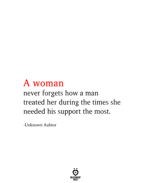 Never, How, and Her: A woman  never forgets how a man  treated her during the times she  needed his support the most.  -Unknown Auhtor  RELATIONSHIP  RULES