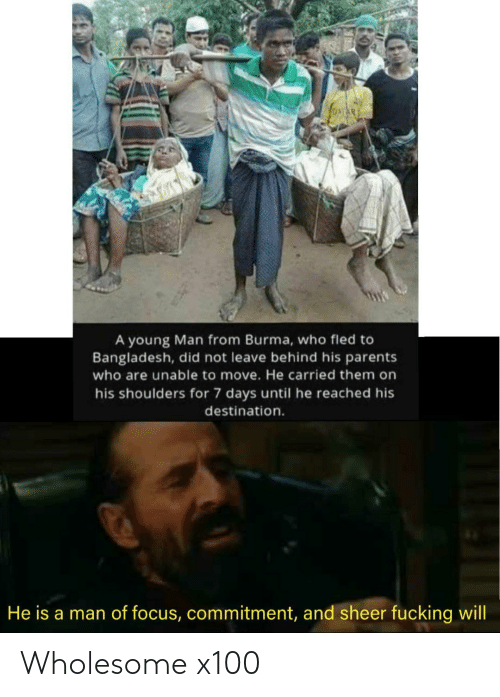 Parents, Focus, and Wholesome: A young Man from Burma, who fled to  Bangladesh, did not leave behind his parents  who are unable to move. He carried them on  his shoulders for 7 days until he reached his  destination.  He is a man of focus, commitment, and sheer fucking will Wholesome x100