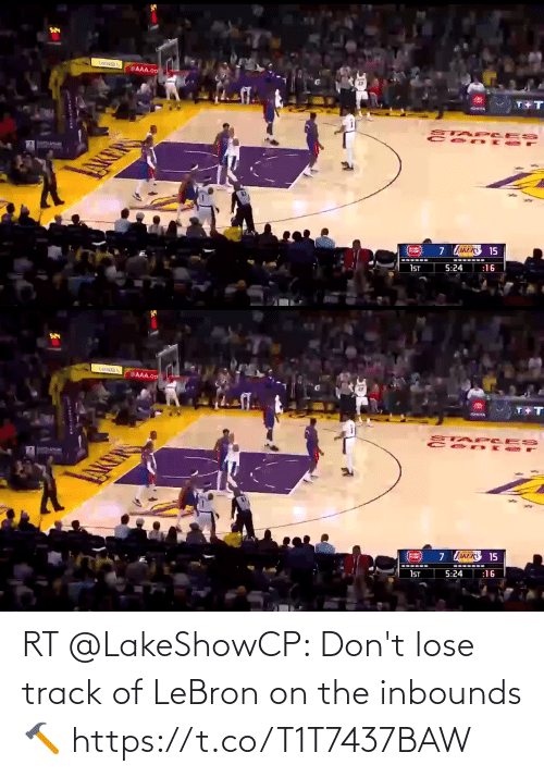 Akers: AAA.co  T+  TOWOA  STAP CES  AKERS 15  :16  5:24  1ST   AAA.co  TAP LES  7537  AKER  AKERS 15  1ST  5:24  :16 RT @LakeShowCP: Don't lose track of LeBron on the inbounds 🔨 https://t.co/T1T7437BAW