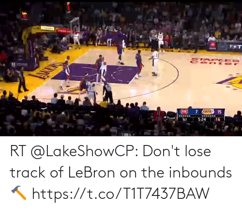 Akers: AAA.co  T+  TOWOA  STAP CES  AKERS 15  :16  5:24  1ST RT @LakeShowCP: Don't lose track of LeBron on the inbounds 🔨 https://t.co/T1T7437BAW