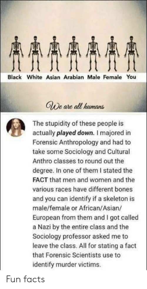 Sociology: AAAA  Black White Asian Arabian Male Female You  GWe are all humans  The stupidity of these people is  actually played down. I majored in  Forensic Anthropology and had to  take some Sociology and Cuitural  Anthro classes to round out the  degree. In one of them I stated the  FACT that men and women and the  various races have different bones  and you can identify if a skeleton is  male/female or African/Asian/  European from them and I got called  a Nazi by the entire class and the  Sociology professor asked me to  leave the class. All for stating a fact  that Forensic Scientists use to  identify murder victims Fun facts