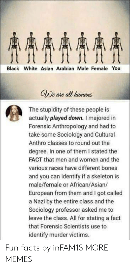 Sociology: AAAA  Black White Asian Arabian Male Female You  GWe are all humans  The stupidity of these people is  actually played down. I majored in  Forensic Anthropology and had to  take some Sociology and Cuitural  Anthro classes to round out the  degree. In one of them I stated the  FACT that men and women and the  various races have different bones  and you can identify if a skeleton is  male/female or African/Asian/  European from them and I got called  a Nazi by the entire class and the  Sociology professor asked me to  leave the class. All for stating a fact  that Forensic Scientists use to  identify murder victims Fun facts by inFAM1S MORE MEMES