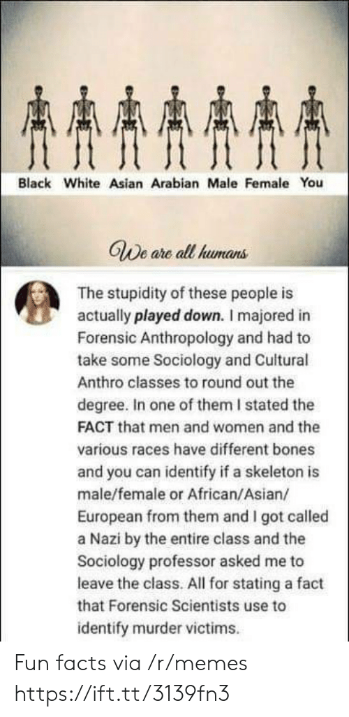 Sociology: AAAA  Black White Asian Arabian Male Female You  GWe are all humans  The stupidity of these people is  actually played down. I majored in  Forensic Anthropology and had to  take some Sociology and Cuitural  Anthro classes to round out the  degree. In one of them I stated the  FACT that men and women and the  various races have different bones  and you can identify if a skeleton is  male/female or African/Asian/  European from them and I got called  a Nazi by the entire class and the  Sociology professor asked me to  leave the class. All for stating a fact  that Forensic Scientists use to  identify murder victims Fun facts via /r/memes https://ift.tt/3139fn3
