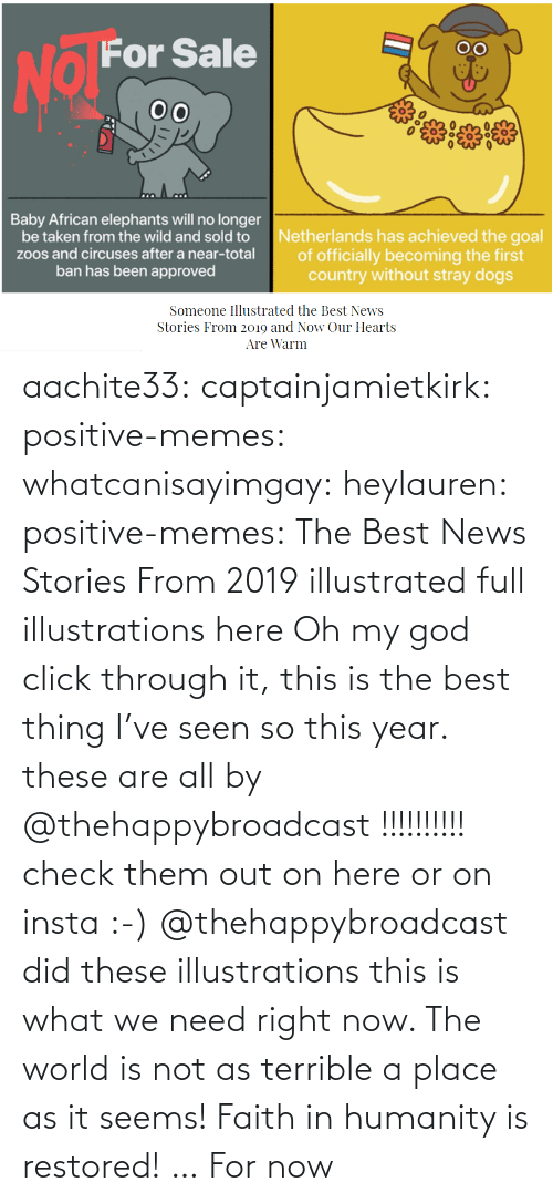 Here: aachite33: captainjamietkirk:   positive-memes:  whatcanisayimgay:   heylauren:  positive-memes:    The Best News Stories From 2019 illustrated full illustrations here  Oh my god click through it, this is the best thing I've seen so this year.  these are all by @thehappybroadcast !!!!!!!!!! check them out on here or on insta :-)     @thehappybroadcast did these illustrations  this is what we need right now. The world is not as terrible a place as it seems!    Faith in humanity is restored! … For now