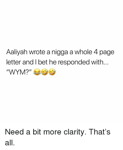 "Memes, Aaliyah, and 🤖: Aaliyah wrote a nigga a whole 4 page  letter and l bet he responded with  ""WYMP カウ Need a bit more clarity. That's all."