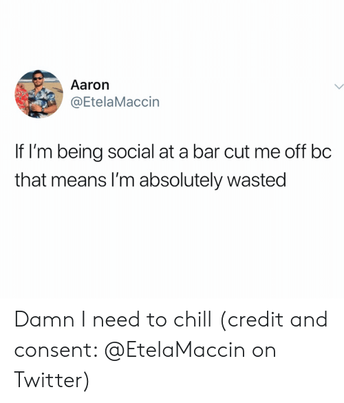 Chill, Twitter, and Bar: Aaron  @EtelaMaccin  If I'm being social at a bar cut me off bc  that means I'm absolutely wasted Damn I need to chill (credit and consent: @EtelaMaccin on Twitter)
