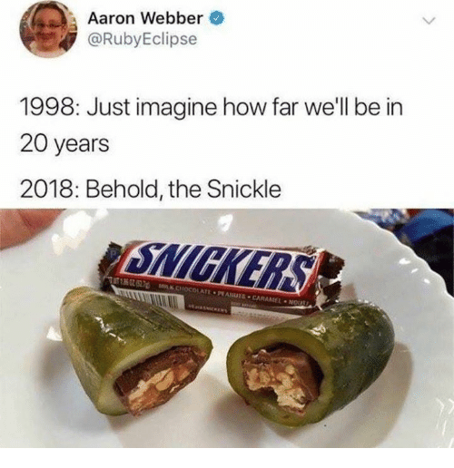 nol: Aaron Webber  @RubyEclipse  1998: Just imagine how far we'll be in  20 years  2018: Behold, the Snickle  2  MSK CHOCOLATE·PF Asura·CARAMEL . NOL