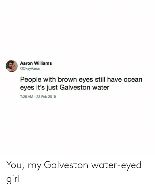 Girl, Ocean, and Texas: Aaron Williams  @OkayAaron  People with brown eyes still have ocean  eyes it's just Galveston water  7:26 AM 23 Feb 2019 You, my Galveston water-eyed girl