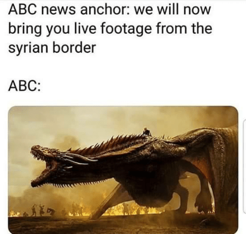 Will Now: ABC news anchor: we will now  bring you live footage from the  syrian border  АВС: