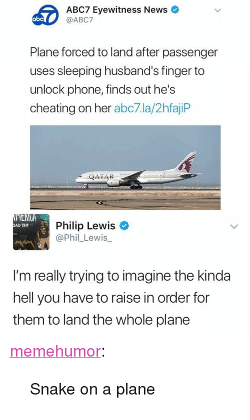 """Abc, Cheating, and News: ABC7 Eyewitness News  @ABC7  abc  Plane forced to land after passenger  uses sleeping husband's finger to  unlock phone, finds out he's  cheating on her abc7.la/2hfajiP  QATAR  Philip Lewis  @Phil_Lewis_  AD TRIP  I'm really trying to imagine the kinda  hell you have to raise in order for  them  to land the whole plane <p><a href=""""http://memehumor.net/post/173448409618/snake-on-a-plane"""" class=""""tumblr_blog"""">memehumor</a>:</p>  <blockquote><p>Snake on a plane</p></blockquote>"""