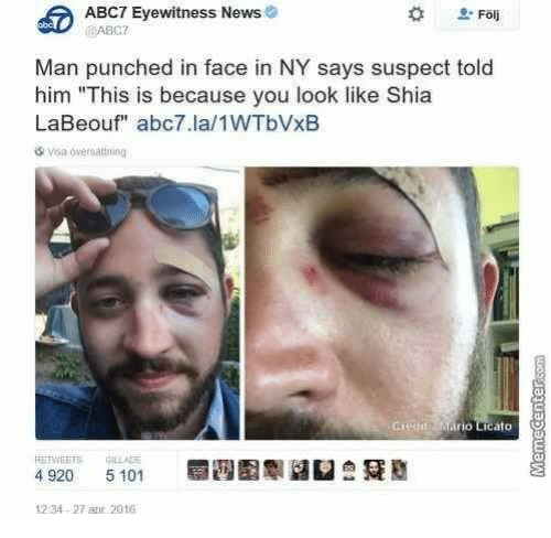 News Shia LaBeouf And Abc7 ABC7 Eyewitness Man Punched In Face