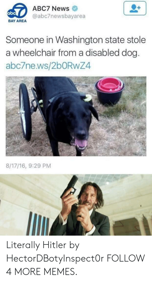washington state: ABC7 News  abc  @abc7newsbayarea  BAY AREA  Someone in Washington state stole  a wheelchair froma disabled dog.  abc7ne.ws/260RWZ4  8/17/16, 9:29 PM Literally Hitler by HectorDBotyInspect0r FOLLOW 4 MORE MEMES.