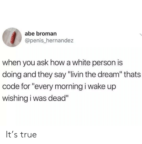"Hernandezing: abe broman  @penis_hernandez  when you ask how a white person is  doing and they say ""livin the dream"" thats  code for ""every morning i wake up  wishing i was dead"" It's true"