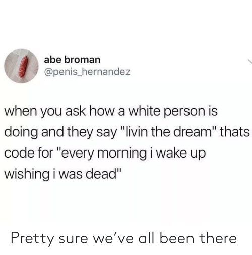 "Hernandezing: abe broman  @penis_hernandez  when you ask how a white person is  doing and they say ""livin the dream"" thats  code for ""every morning i wake up  wishing i was dead"" Pretty sure we've all been there"
