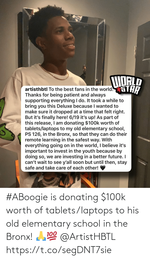 Old: #ABoogie is donating $100k worth of tablets/laptops to his old elementary school in the Bronx! 🙏💯 @ArtistHBTL https://t.co/segDNT7sie
