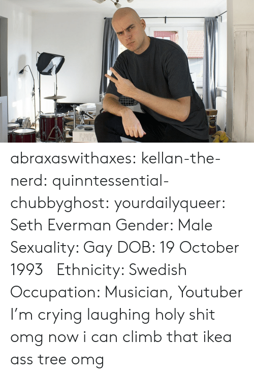 A La: abraxaswithaxes:  kellan-the-nerd:  quinntessential-chubbyghost:   yourdailyqueer:  Seth Everman  Gender: Male  Sexuality: Gay  DOB: 19 October 1993      Ethnicity: Swedish  Occupation: Musician, Youtuber      I'm crying laughing holy shit   omg now i can climb that ikea ass tree omg