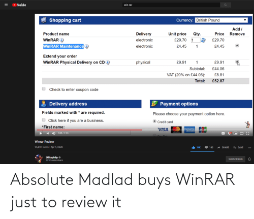 Buys: Absolute Madlad buys WinRAR just to review it