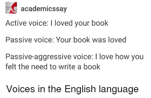 Love, Book, and Passive Aggressive: academicssay  Active voice: I loved your book  Passive voice: Your book was loved  Passive-aggressive voice: I love how you  felt the need to write a book Voices in the English language